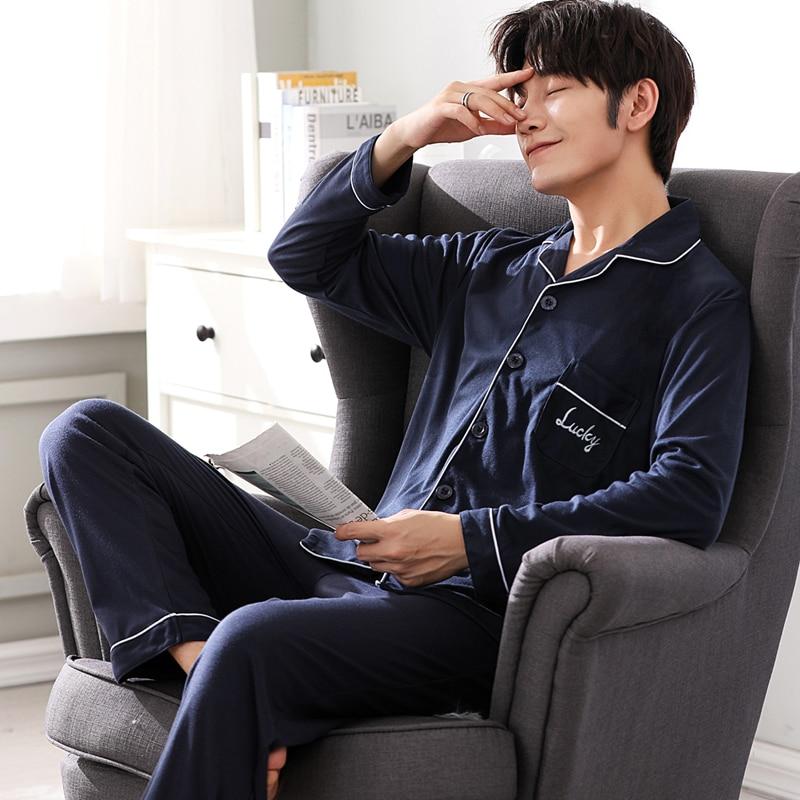 Yuzhenli Spring Men's Cotton Pajama Sets Korean Men Pajamas Sleepwear Men Plus Size Soft Nightgown Pyjamas For Autumn L-3XL