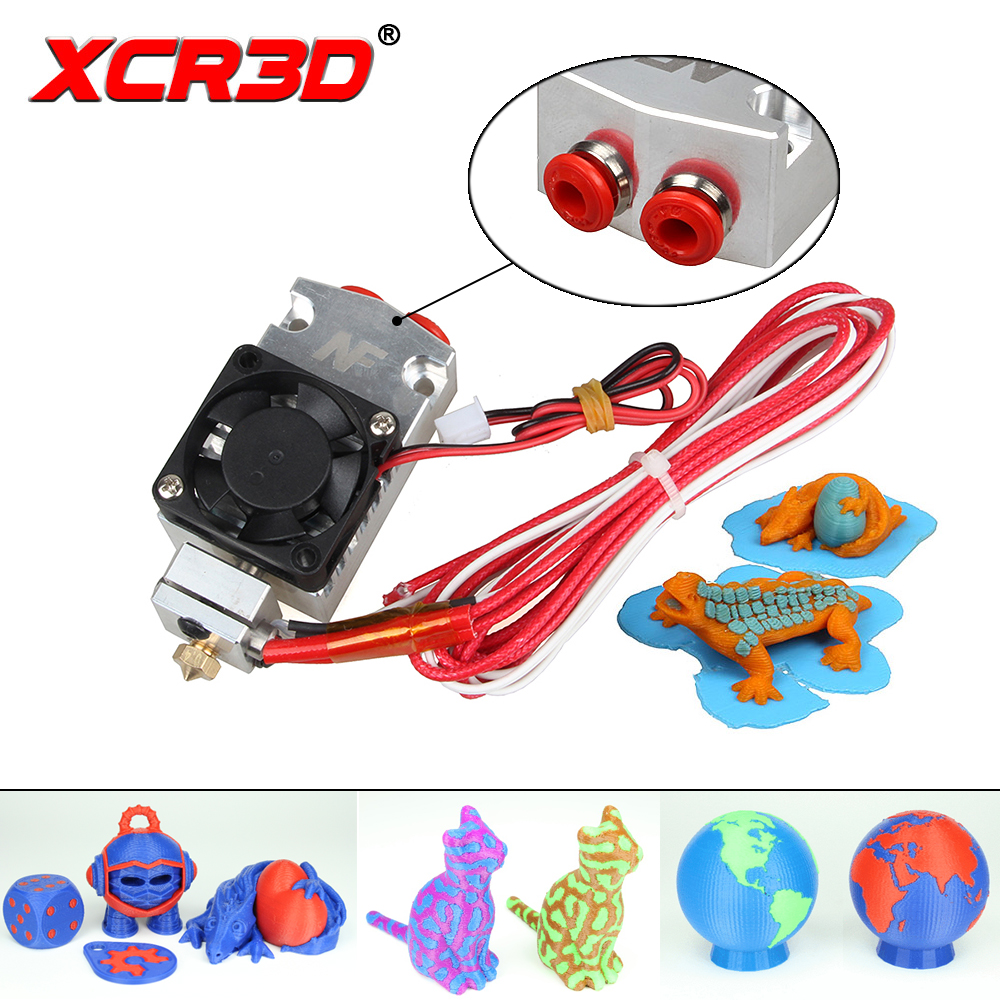 Free Shipping XCR3D 2 in 1 out Hotend with Cooling Fan Extruder for 3D Printer Parts I3 12V 24V NF TC-01 Dual Color Cyclops free shipping servo 6038 g0638d12b9zp 00 12v 1 06a cooling fan 60x60x38mm