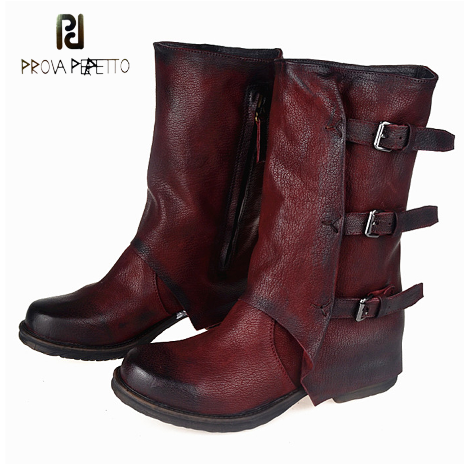 Prova Perfetto Europe Retro Do Old Low Heel Woman Boots Shoes Genuine Leather Naked Martin Boots Back Buckle Knight Short Boots prova perfetto fashion round toe low heel mid calf boots feminino buckle belt thick bottom genuine leather women s martin boots