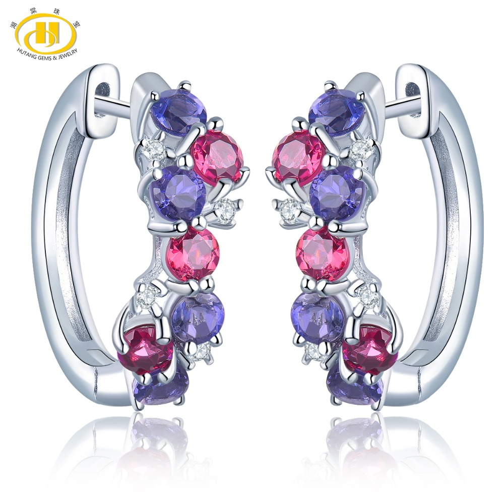 Hutang Colorful Natural Gemstone Hoop Earrings Rhodolite Garnet Iolite 925 Sterling Silver Fine Elegant Jewelry for