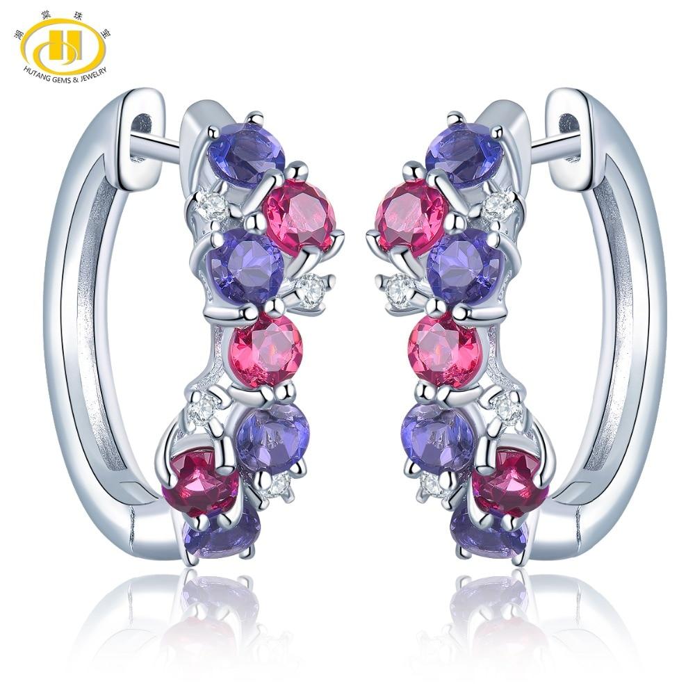 Hutang Colorful Natural Gemstone Hoop Earrings Rhodolite Garnet Iolite 925 Sterling Silver Fine Elegant Jewelry for