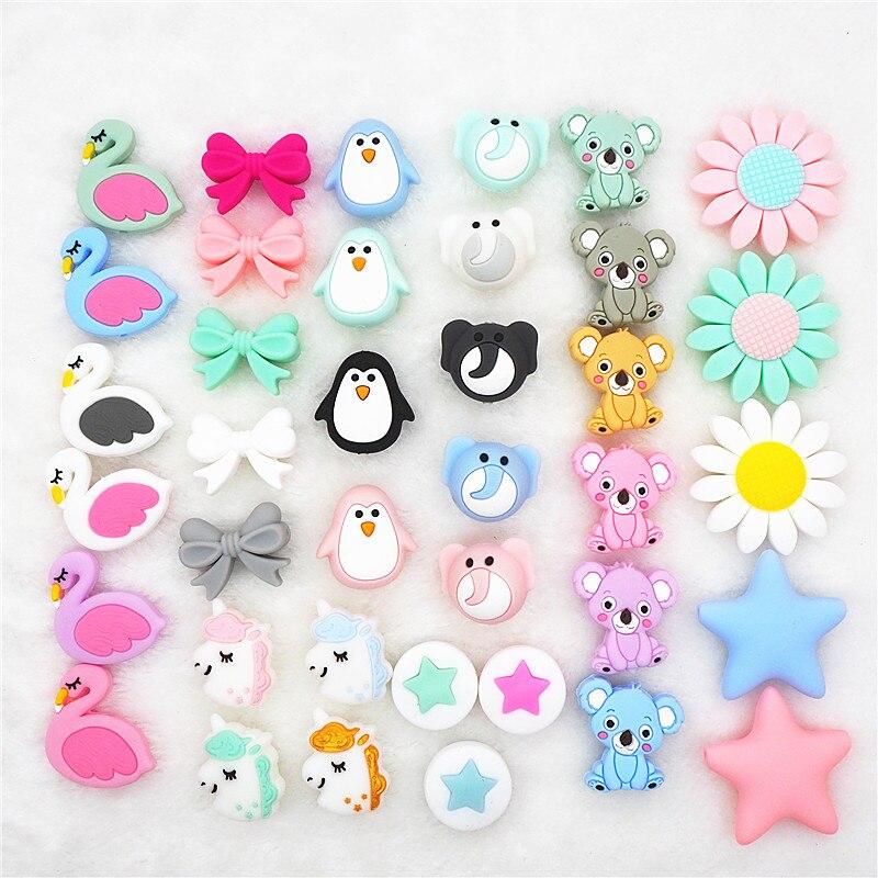 Chengkai 10pcs Silicone Teether Beads DIY Unicorn Star Penguin Flower Koala Flamingo Baby Teething Sensory Jewelry Cartoon Beads