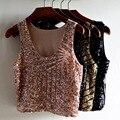 2017 nueva moda paillette sin mangas de la camisa corta de la camiseta para las mujeres camiseta para mujer de plata de oro rosa de las mujeres negras camisetas