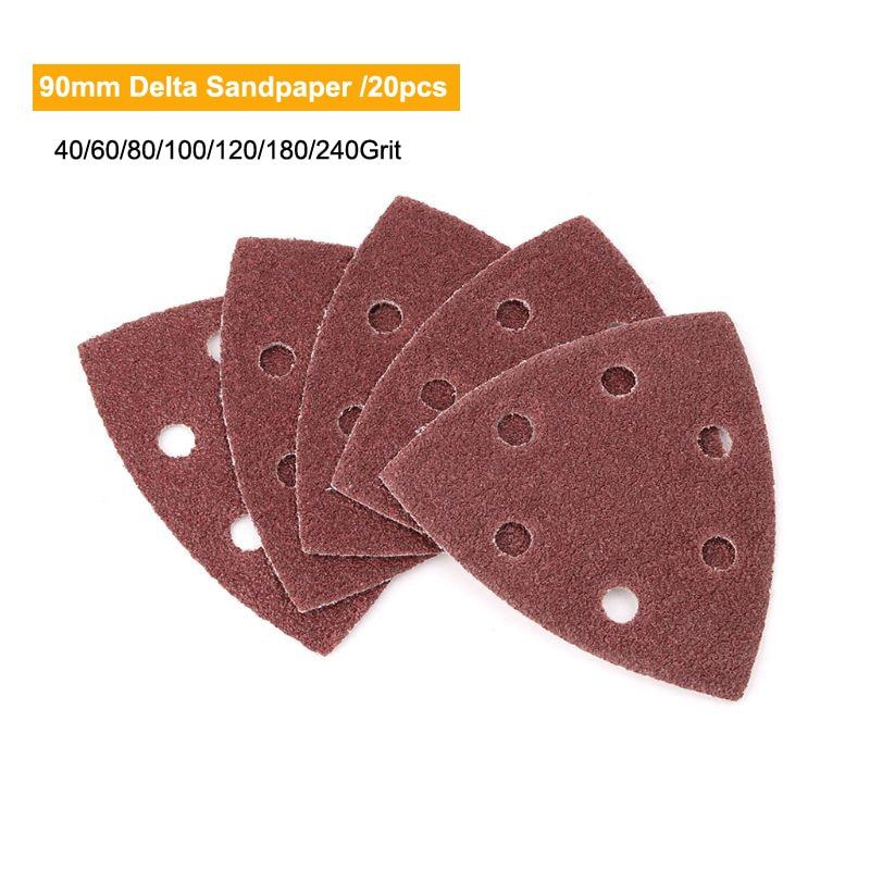 20pcs Self-adhesive Sandpaper Triangle Delta Sander Sand Paper Hook Loop Sandpaper Disc Abrasive Tools For Polishing Grit 40-240