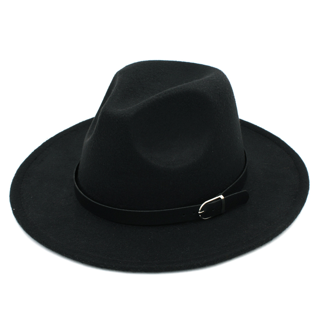 LUCKYLIANJI Solid Color Men Women Wool Felt Panama Hat Fedora Caps Leather  Band (One Size 57cm-US 7 1 8) c0ed918968af
