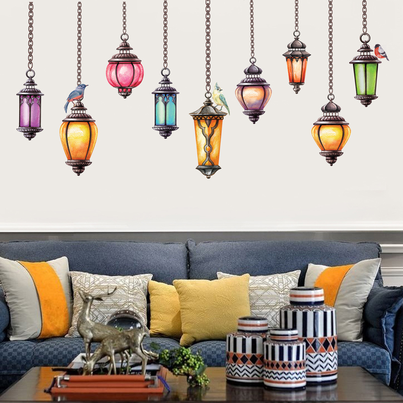 Colorful lamp wall stickers home decor removable living room wall pictures 3d tv background furnitur stickers