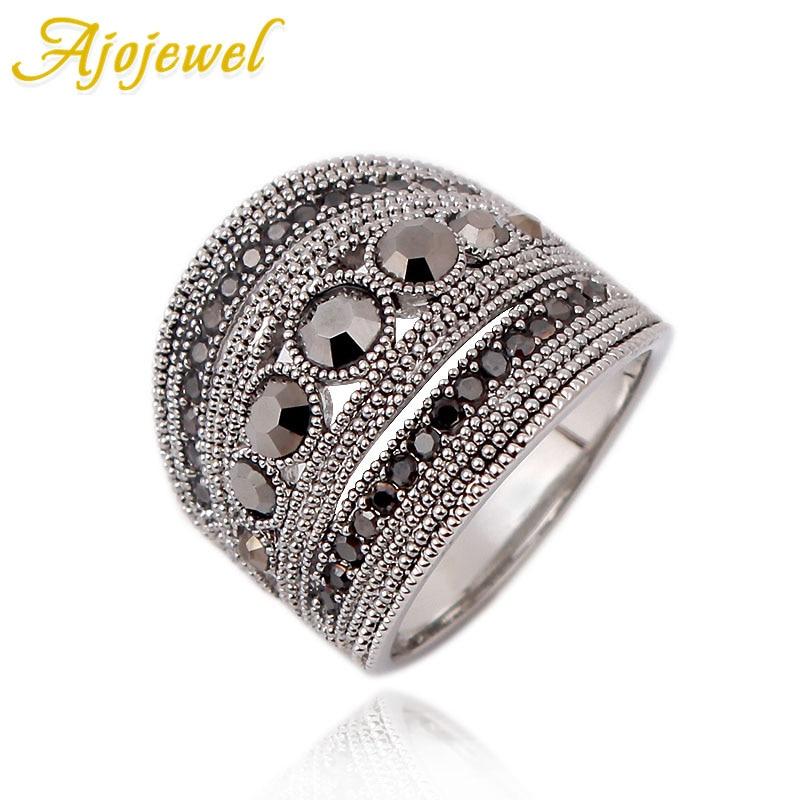 Ajojewel Best Selling Fashion Jewelry Black CZ Geometric Vintage Retro Finger <font><b>Ring</b></font> Women High Quality Wide Design Party Jewelry