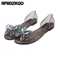 Women Jelly Fashion Shoes Jewel Sandals Diamond Pvc Black Plastic Glass Slipper Cheap Flat Peep Toe Transparent Butterfiy