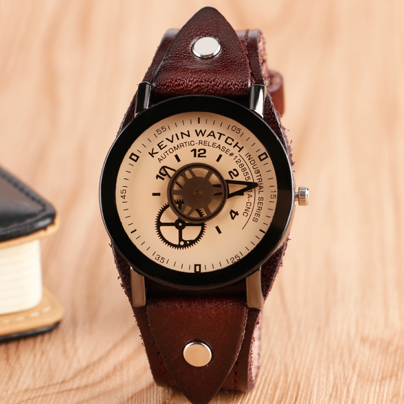 Punk Fashion Trendy Rock Simple Cool Leather Band Strap Women Special Design Gear Men Round Dial Wrist Watch Quartz new arrival turntable simple wrist watch women trendy quartz watch casual special design sport round dial hour student relogio