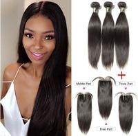 AOSUN Hair Brazilian Straight Hair With Lace Closure 3PCS Human Hair Bundles With Closure 8 28 Brazillian Bundles With Closure