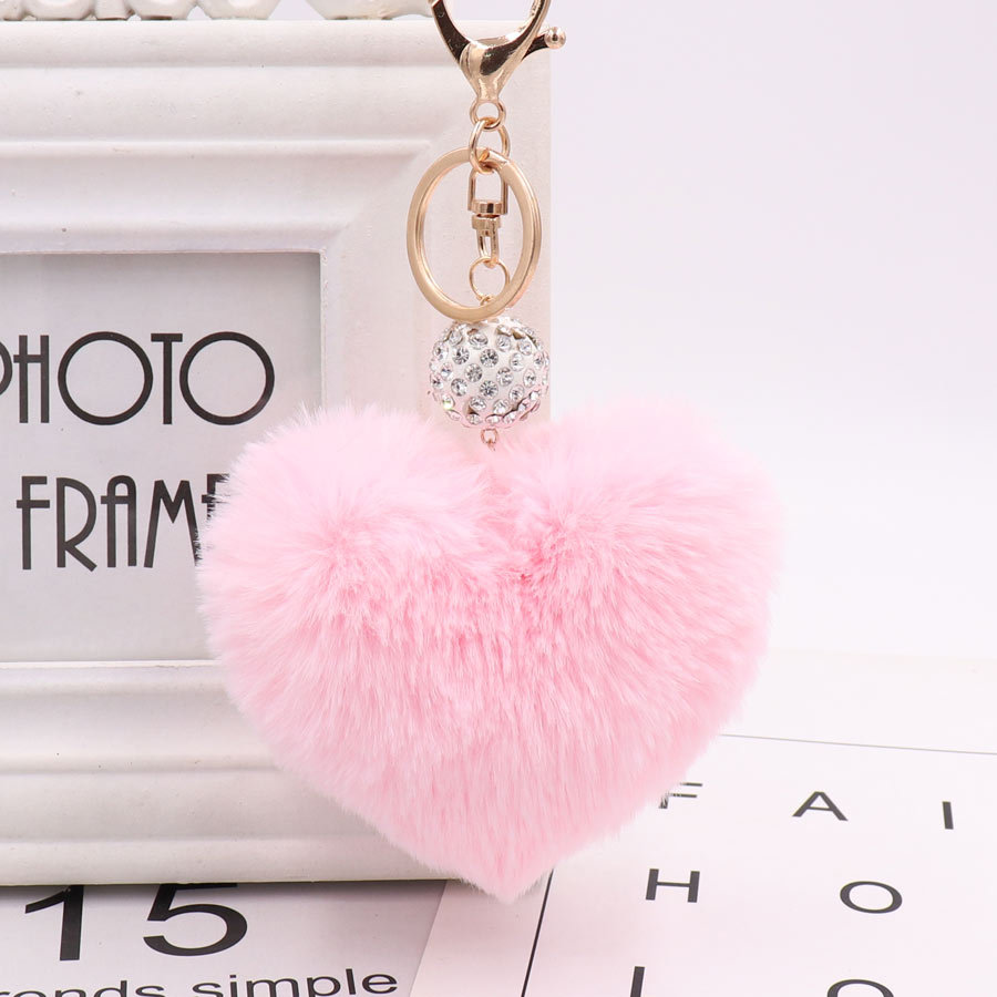 Lovely Heart Keychains Women's Pom Poms Faux Rex Rabbit Fur Crystal Ball Key Chains Girl Bag Hang Car Key Ring Pendant Llaveros