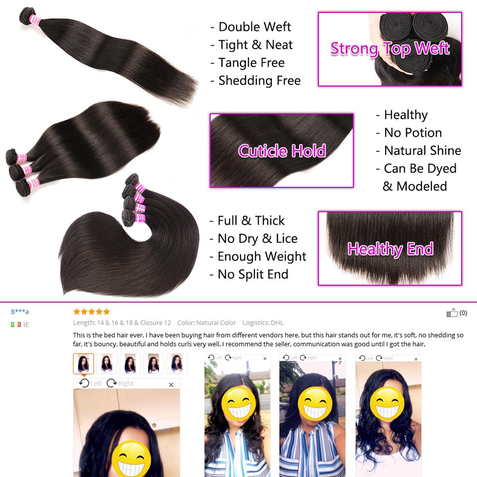Indian Straight Hair Bundles With Frontal Natural Color Human Hair 18Inches Lace Frontal With Straight Bundles 22 24 26 Bybrana (1)