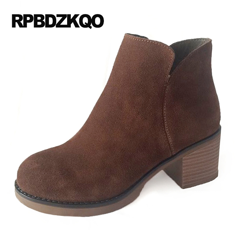 Chinese High Heel Short Chunky Shoes Autumn Booties Women Ankle Boots 2016 Round Toe 2017 Fall Suede Brown Ladies Female New women ankle boots medium heel genuine leather booties vintage thick suede round toe chunky shoes slip on platform brown fall