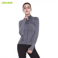 Women Running Tshirt Zipper Quick Dry Long Sleeved Running Gym Jacket With Thumb Holes