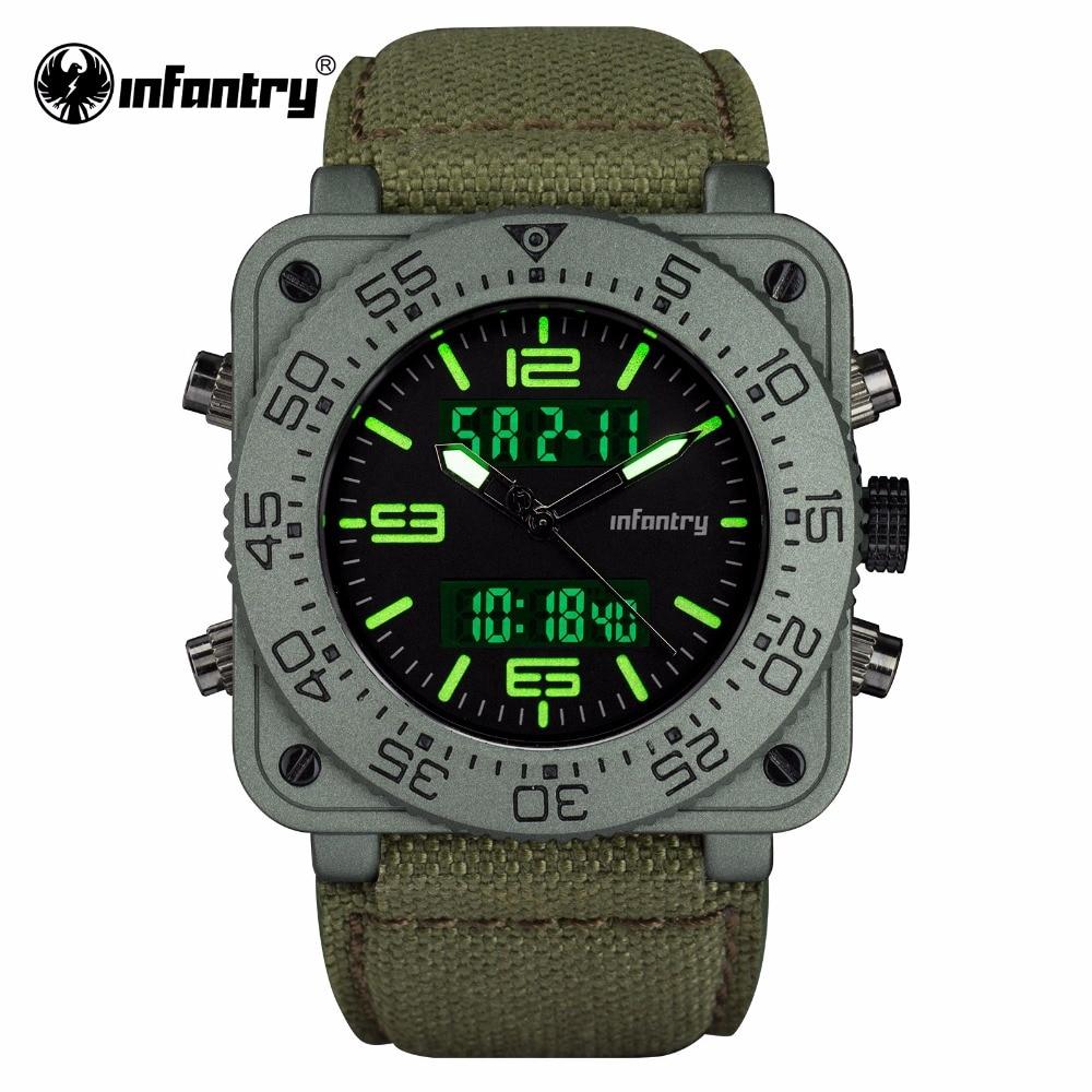 INFANTRY Mens Quartz Watches New Military Dual Time Digital Watch Heavy Duty Nylon Band Waterresistant Watch Relogio Masculino дырокол deli heavy duty e0130