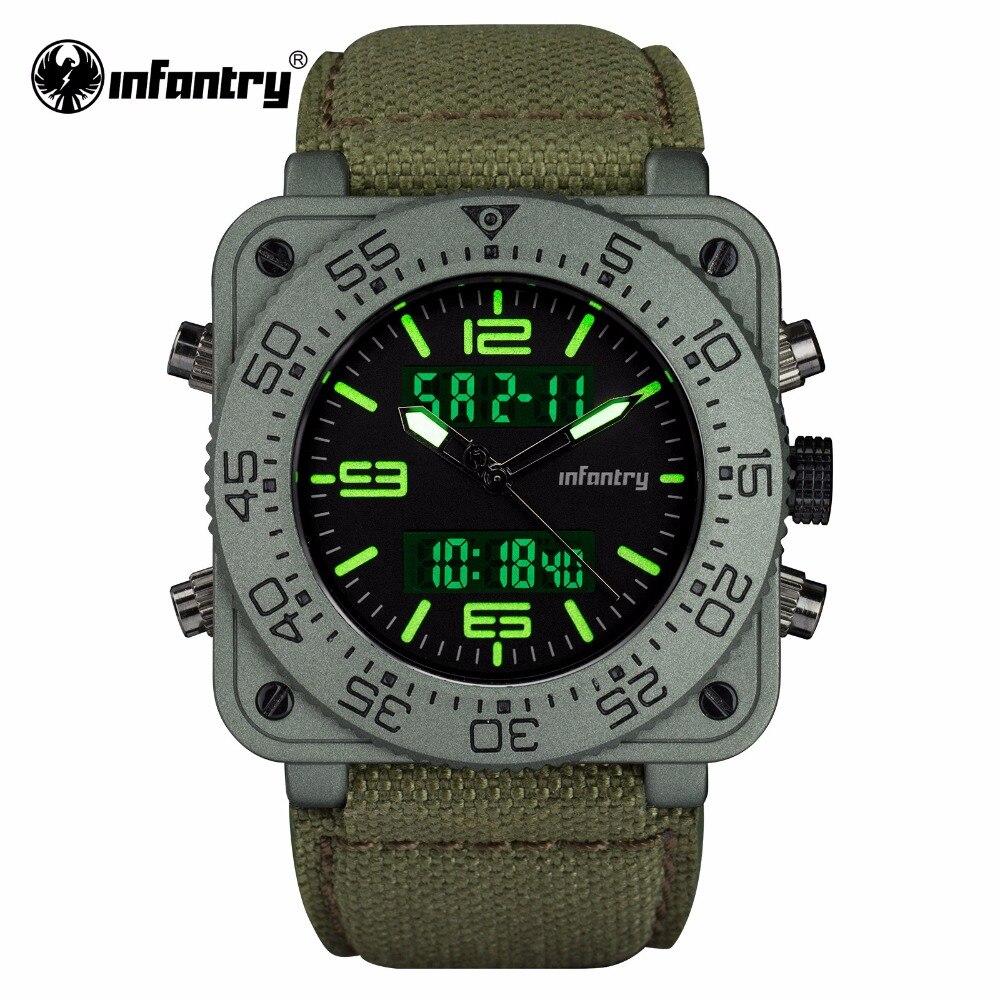 INFANTRY Mens Quartz Watches New Military Dual Time Digital Watch Heavy Duty Nylon Band Waterproof Watch Relogio Masculino