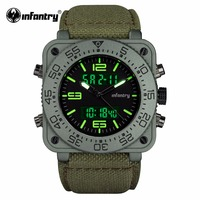 INFANTRY Mens Quartz Watches New Military Dual Time Digital Watch Heavy Duty Nylon Band Waterresistant Watch