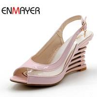 ENMAYER סנדלים עקב טריז אבזם נעלי אצבע פתוחה בסגנון שקוף קיץ של נעלי נשים פטנט PU סקסי קיץ אישה מותג נעליים
