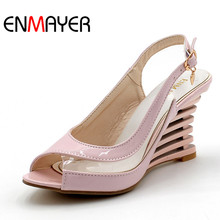 High Wedge Heel Sandals 2015 Buckle Style Open Toe Transparent Shoes Womens Summer Patent PU Sexy Brand New