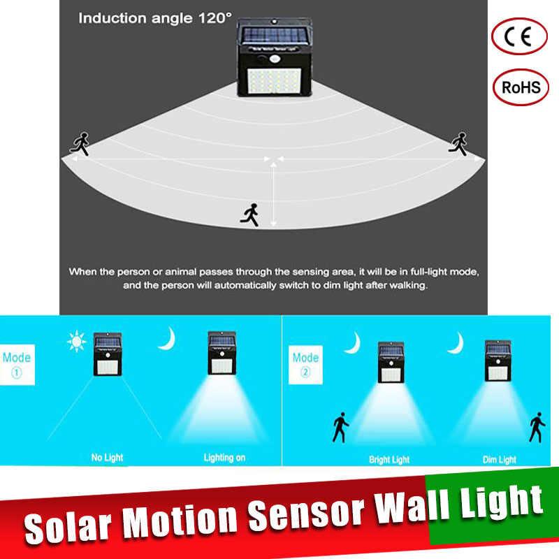 Светодиодный солнечный Мощность движения PIR Сенсор свет стены 16/20/25/30 светодиодный s Открытый Водонепроницаемый энергосберегающие уличные сад Безопасность лампы