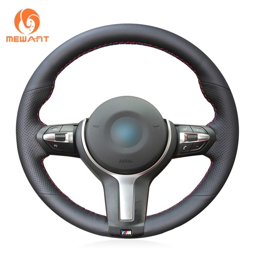 MEWANT Genuine Leather Hand Sew Steering Wheel Cover for BMW F87 M2 F80 M3 F82 M4
