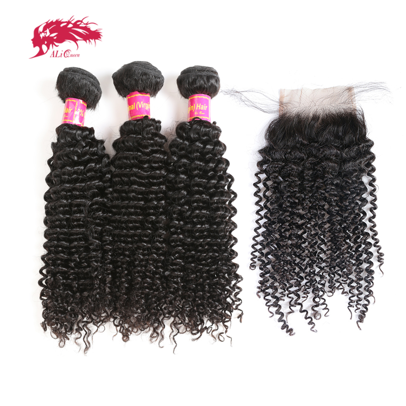 Ali Queen Hair Products 3Pcs Brazilian Kinky Curly Hair With Swiss Lace Closure Free Part Pre