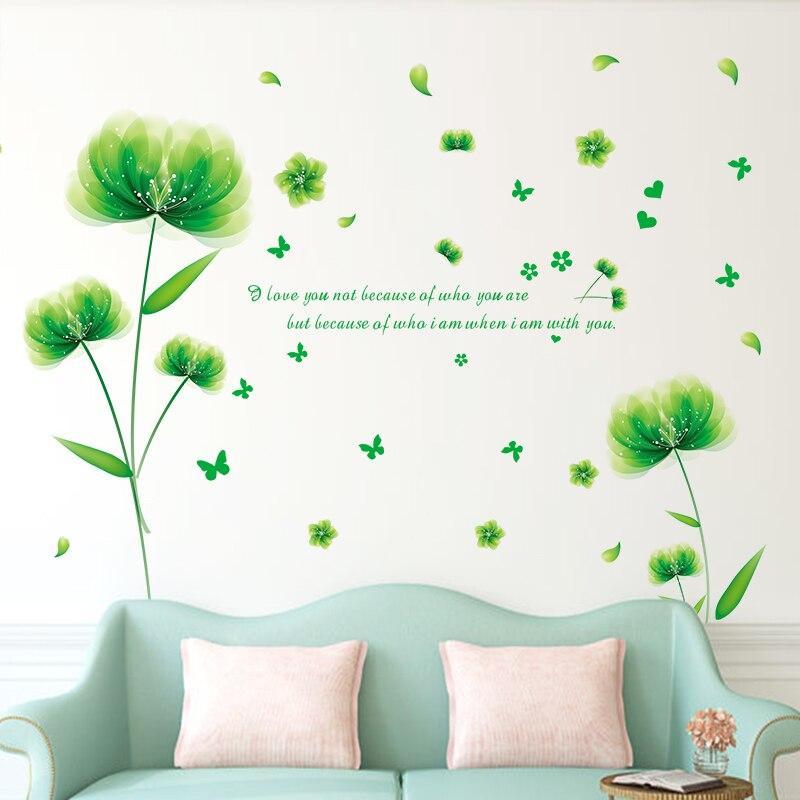 30ec365ace747  SHIJUEHEZI  الأخضر الزهور ملصقات جدار PVC المواد DIY أوراق النبات صور  مطبوعة للحوائط لغرفة المعيشة غرفة نوم زخرفة الزجاج