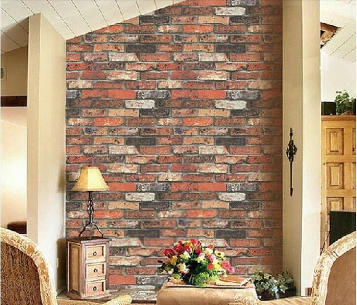 Red brick vintage three dimensional brick wallpaper roll natural stone brick effect home - Red brick wall panel ...