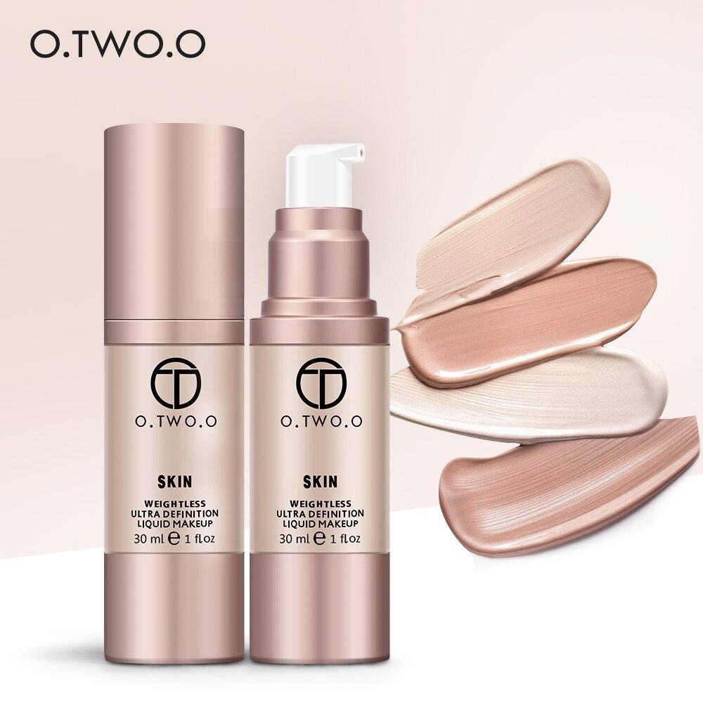 O TWO O 4Colors Liquid Foundation Flawless Coverage Base Professional Waterproof Whitening Moisturizing Cream Makeup Foundation