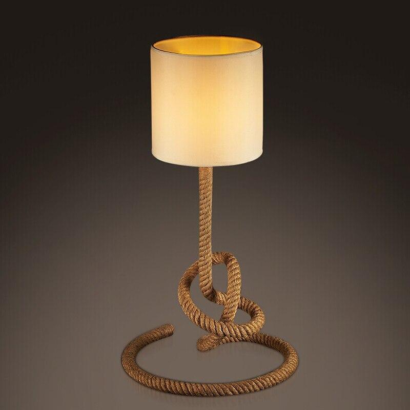 American retro Лофт творческая личность лампы Мода американский кантри конопли art гостиная спальня ночники GY217