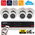 SUNCHAN 4CH 720P CCTV System 4 Channel HDMI DVR 4PCS 1200TVL IR Metal Dome Security Camera Home Security System Surveillance Kit