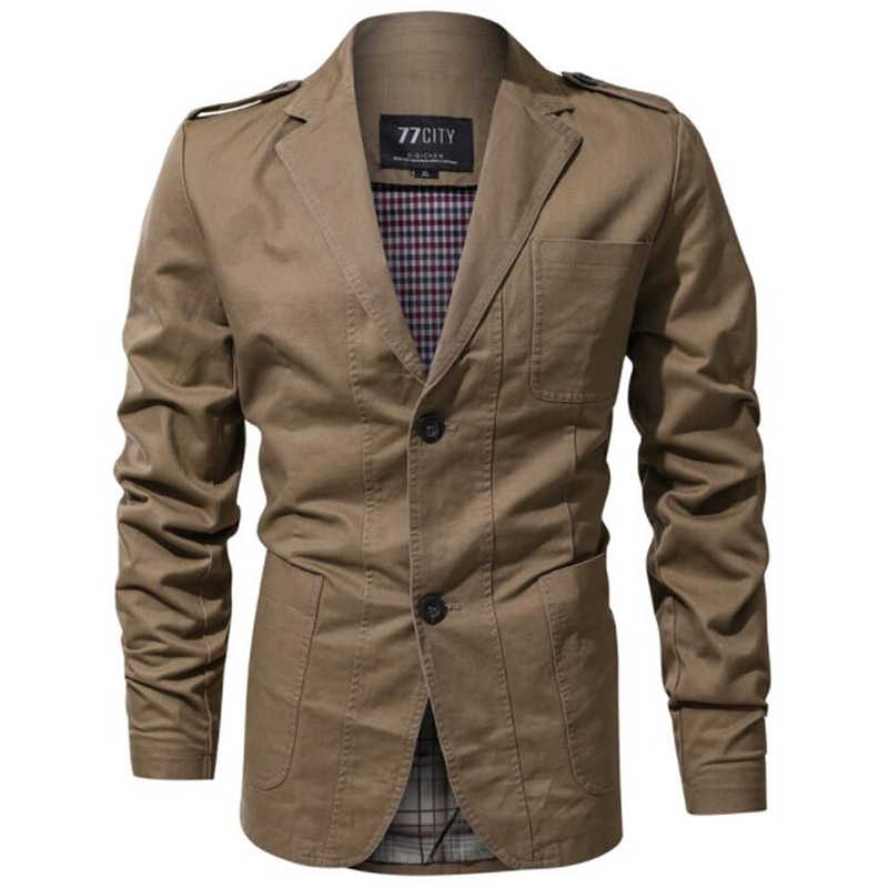 חדש לגמרי 2019 צבאי בלייזר הגברים Slim Fit אופנה חליפת מעיל זכר מזדמן כותנה Soild צבע מעיל שמלת טרייל סיטונאי