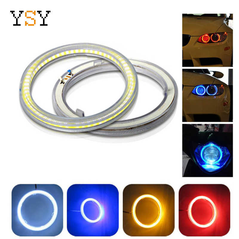 1Pair (2Pcs) White 60mm 70mm 80mm 90mm 100mm 110mm 120mm COB LED Angel Eyes With SHELL Halo Ring Bulb Fog light Lamps For Car