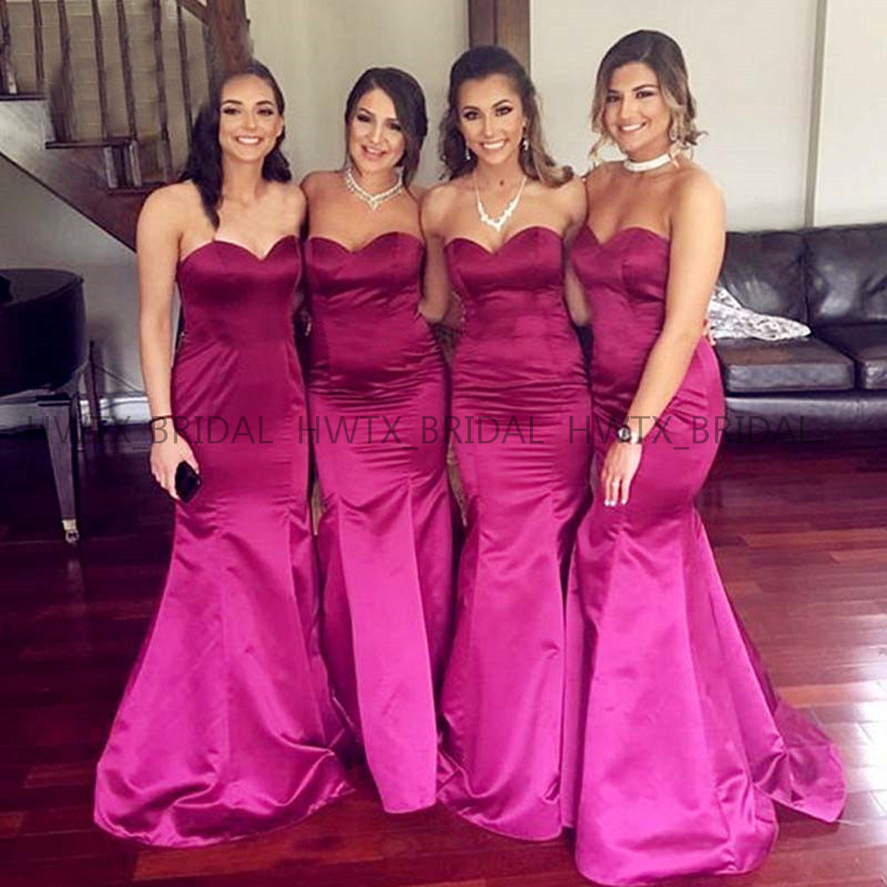 Bridesmaid     Dresses   2019 Fuchsia Satin Wedding Party   Dress   Sweetheart Sexy Mermaid Long Floor Length   Bridesmaid     Dress   Custom Made