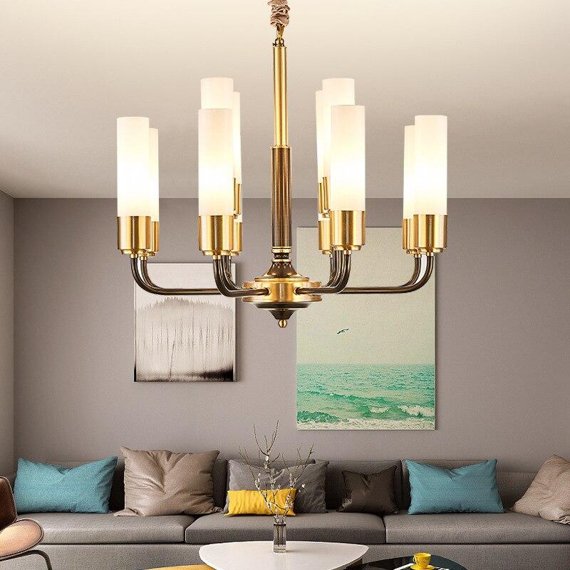 Image 3 - LED luxury Copper chandelier lighting living room pendant lamps American dining room fixtures Nordic bedroom hanging lightsChandeliers   -