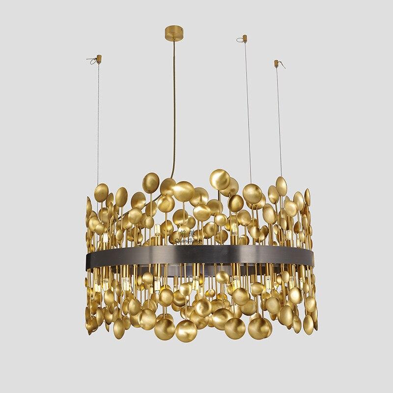 Luxury American RH Copper G9 Led Pendant Light Hotel Lustre Steel Led Pendant Lamp Modern Living Room Indoor Lamparas Fixtures