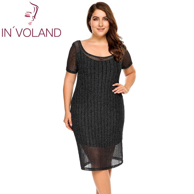 23061c30bc5 IN'VOLAND Women Dress Big Size Scoop Neck Short Sleeve Glitter Slim Fit  Dress With Full Slips Party Feminino Dresses Plus Size