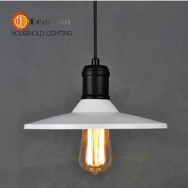 American Style Modern Brief Restaurant Pendant Light Bar Vintage Round White Cover Garden/Cellar Drop lamp Decor - Ms zhou store