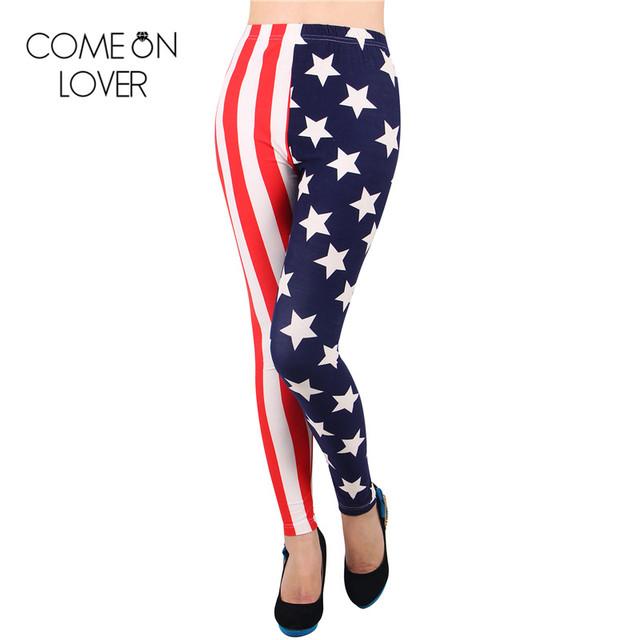 TE2287 Comeonlover Atacado e varejo de impressão digital de leggings de algodão penteado legging calças da bandeira americana mulheres emagrecimento leggings