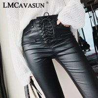 LMCAVASUN Women Fashion PU Leather Trousers Lace up High Waist Skinny Pencil Pants Zipper Cuff Faux Leather Winter Pants