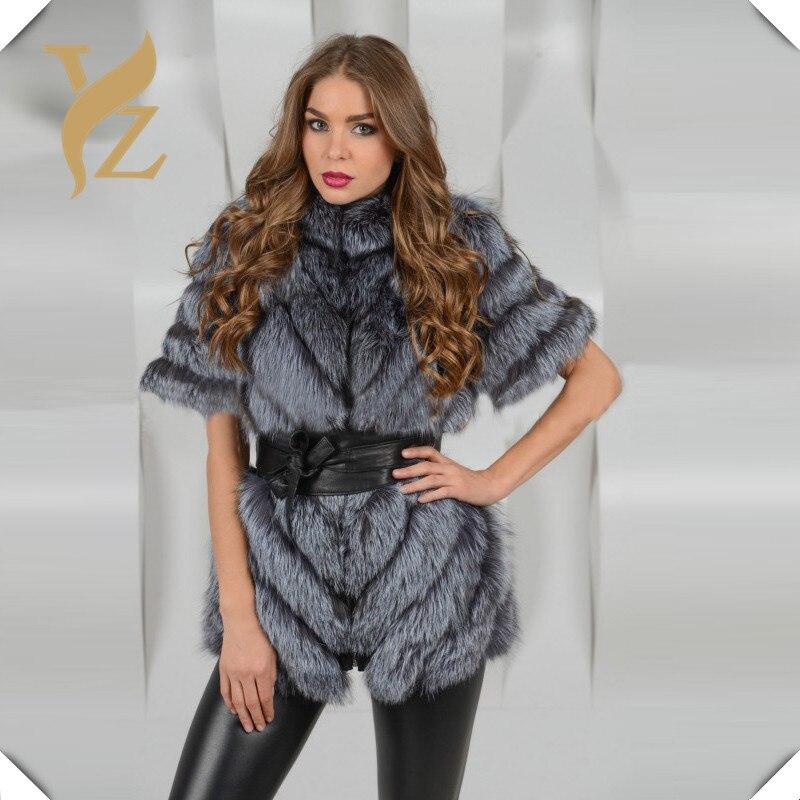 Fox Taille Moitié Parke Femmes Chaude Pour Nouveau Plus Fourrure Manteaux Hiver Dames Col De Réel Conception La Russie Manches Chaud Silver HIqw4UU