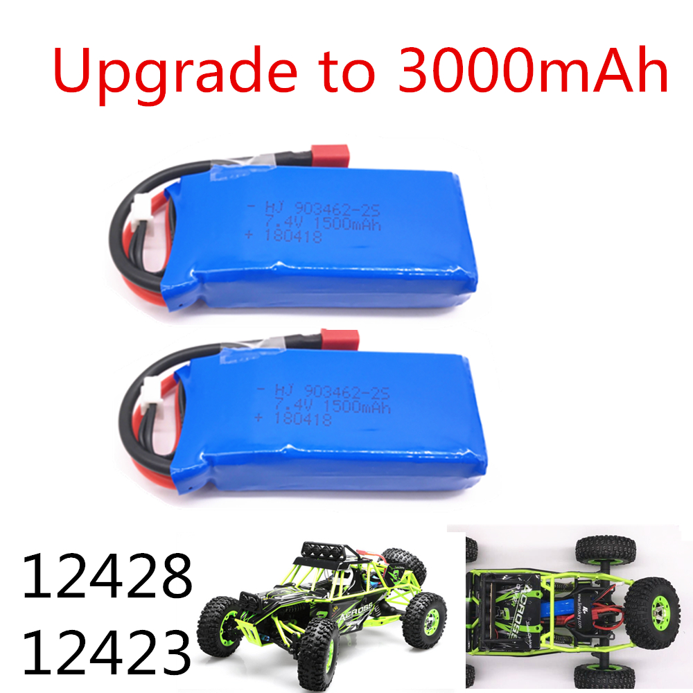 Limskey Upgrade to <font><b>3000mAh</b></font> (2*1500mah) Rc <font><b>Lipo</b></font> Battery <font><b>2S</b></font> 7.4V 1500mah 25C for Wltoys 12428 12423 1:12 RC Car Spare parts image