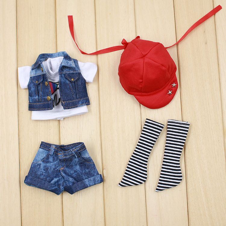 Bjd Doll Clothes(suitable For 1/6 Doll )red Baseball Cap, Cowboy Suit, 1/6 Bjd Doll Clothes