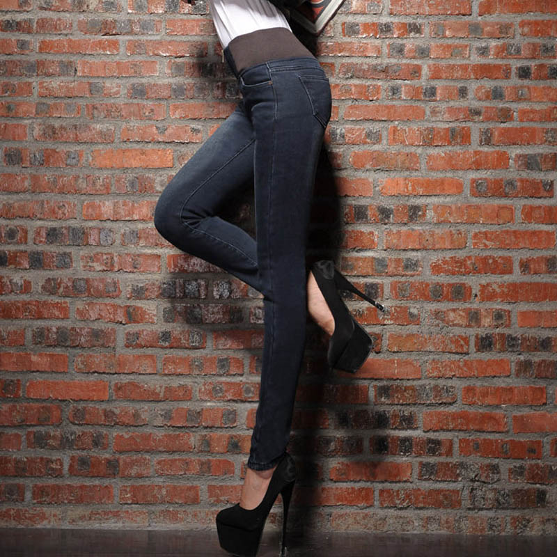 ФОТО 2016 New Autumn Winter Style Women Jeans Casual Warm Thick Pencil Denim Trousers High Waist Jeans Plus Size 4XL Black Blue DTY07