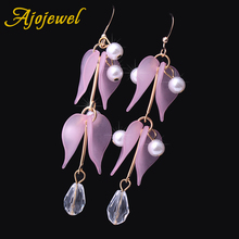 Ajojewel 3 Colors Simulated Pearl Leaf Design Long Earrings For Women Cute Jewelry Gifts 2018