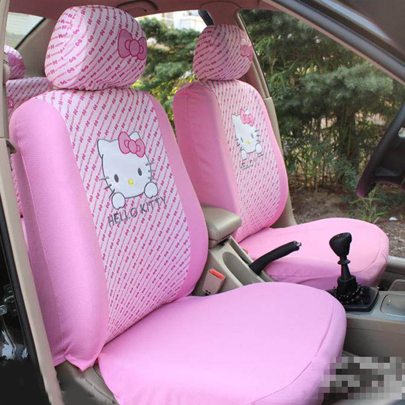 Cartoon Hello Kitty Car Seat Cover Universal Auto Seat Protector Car Styling Interior Accessories Decoration for Girls Women bjmycyy car styling seat adjustment button switch cover interior decoration sticker for kia sportage 16 17 kx5 auto accessories