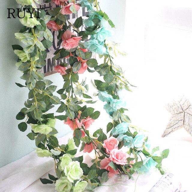 Panjang Rotan Dekorasi Pernikahan DIY Buatan Sutra Palsu Bunga Mawar Anggur  Daun Hanging Garland Dekorasi Rumah ffa1389f84