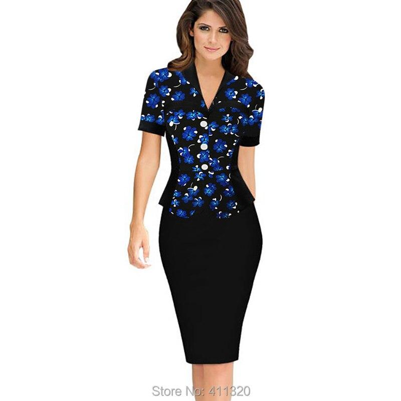 Womens Elegant Business Suits Blazer with Skirt Formal Office Uniform Designs Women Lapel Colorblock Knee Length Pencil Dress (9)