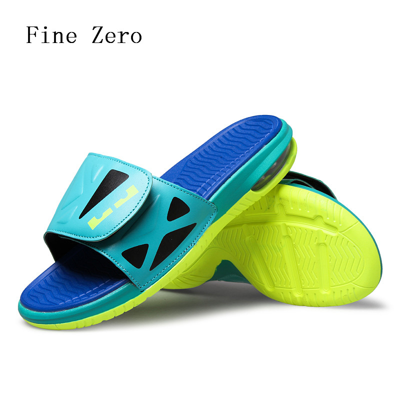Male 2017 high quality hook loop brand designer men air cushion summer blue yellow monster slippers