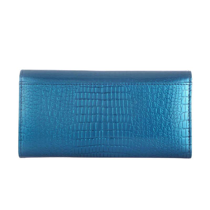 Mewah Patent Kulit Wanita Dompet Panjang Wanita Clutch Dompet Desainer Merek Dompet Kapasitas Besar Wanita Lipat Tiga Dompet